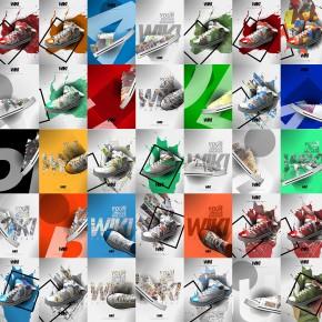 Collage von generierten Werbegrafiken für Turnschuhe